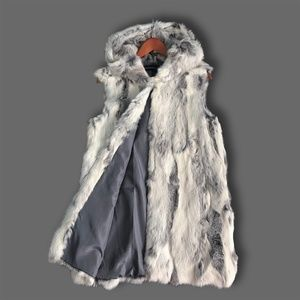 Long Hooded Rabbit Fur Vest